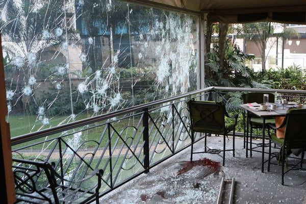 Bullet impacts on window at Nairobi DusitD2 Hotel