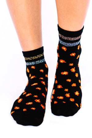 Leopard Ankle Socks- Black