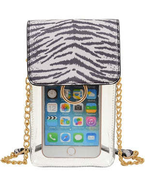 Clear Cell Phone Holder- White Tiger