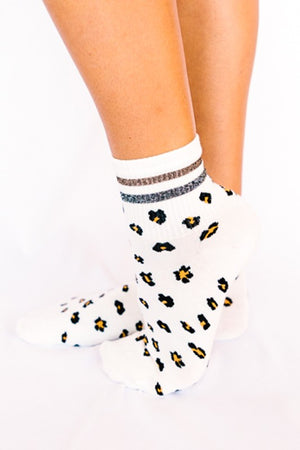 Leopard Ankle Socks- White