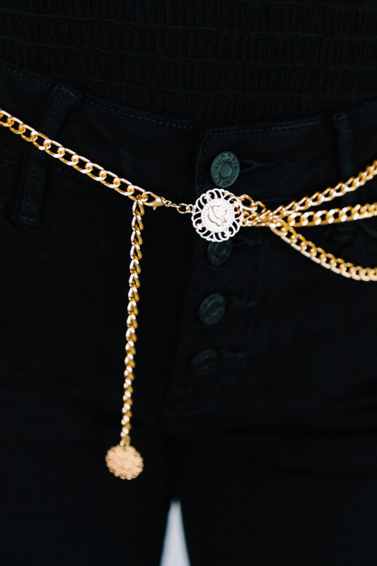 Medallion Closure Adjustable Chain Belt
