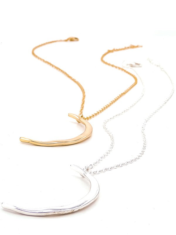 Hammered Metal Delicate Crescent Necklace