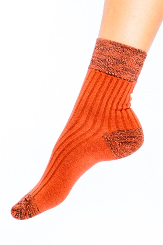 Shimmer Accent Ankle Socks- Orange