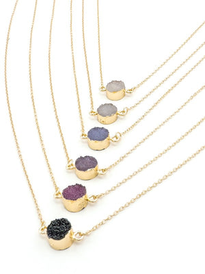 Darkstone Druzy Delicate Necklace