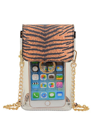 Clear Cell Phone Holder- Tiger