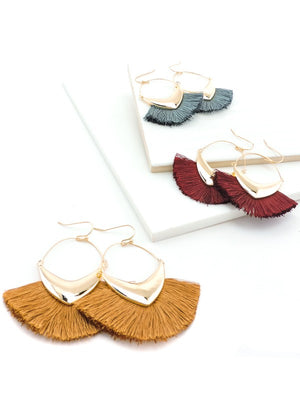 Pointed Hoop Tassel Fan Earring