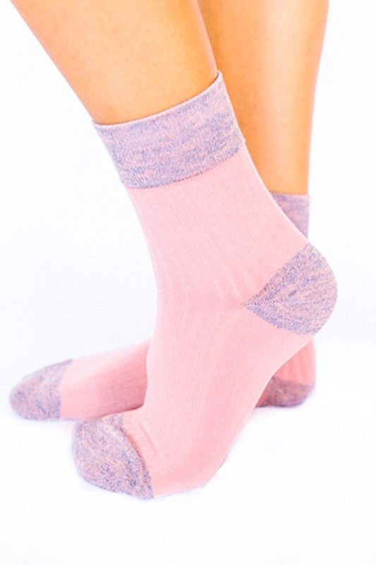 Shimmer Accent Ankle Socks- Pink