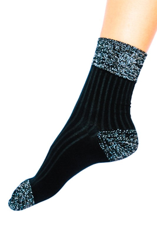 Shimmer Accent Ankle Socks- Black