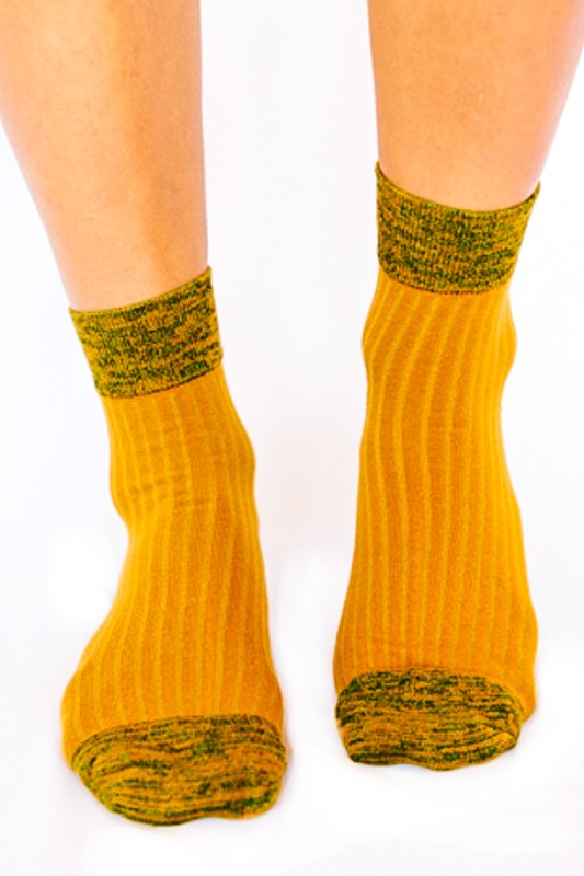 Shimmer Accent Ankle Socks- Yellow