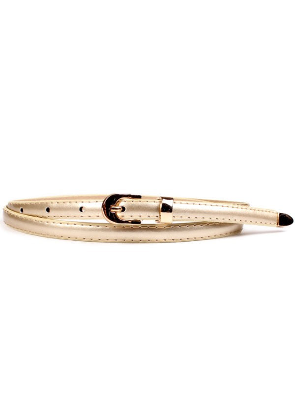 Gold Tipped Sleek Patent Skinny Belt