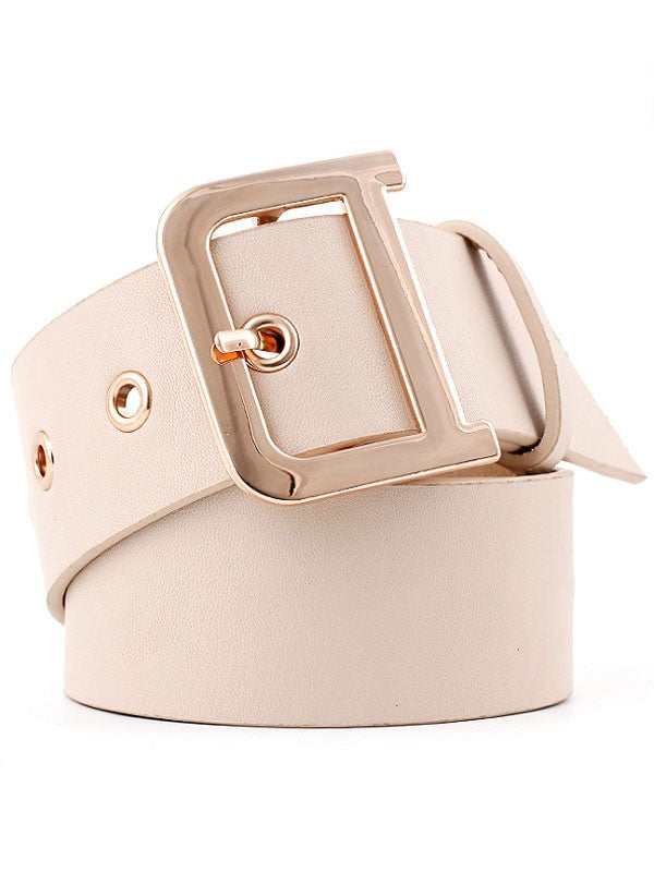 Golden Eyelet Square Buckle Belt