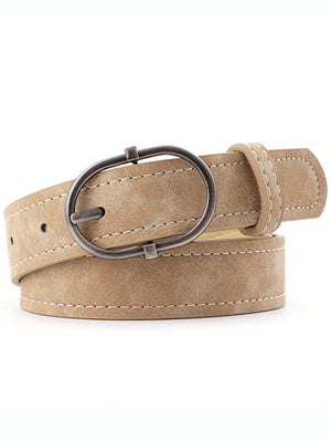 Steph Chic White Stitched Vegan Belt