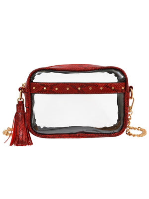 Natalia Transparent Crossbody- Burgundy Snake