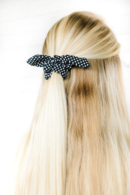 Retro Dotted Scrunchie Bow