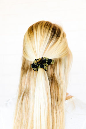 Glitter Gingham Scrunchie Bow