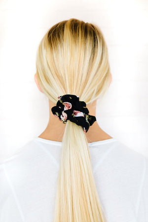 Mixed Floral Woven Scrunchie