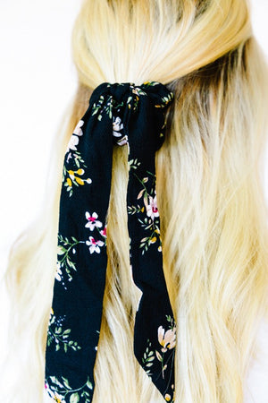 Floating Flowers Crepe Hair Scarf
