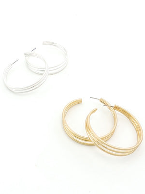 Brushed Metal Triple Hoop Earring