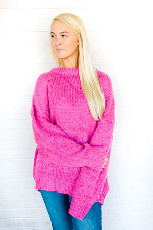 Heather Oversize Knit Sweater- Hot Pink