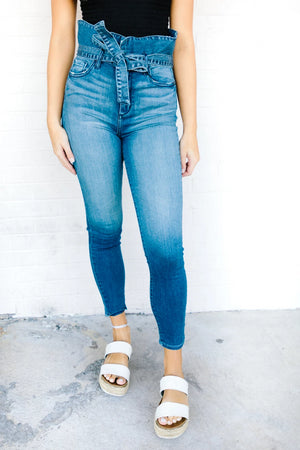 Cinched Waist W/ Tie Jeans