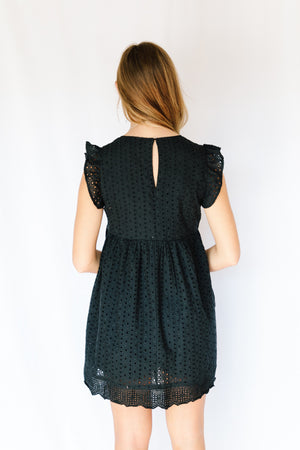 Embroidered Lace Romper- Black
