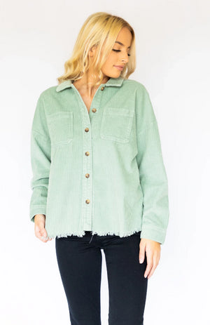 Two Pocket Button Down- Dusty Mint
