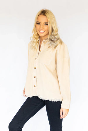 Two Pocket Button Down- Beige