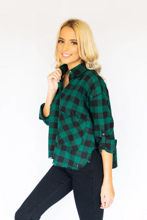 Fringed Flannel Shirt- Black & Forrest Green
