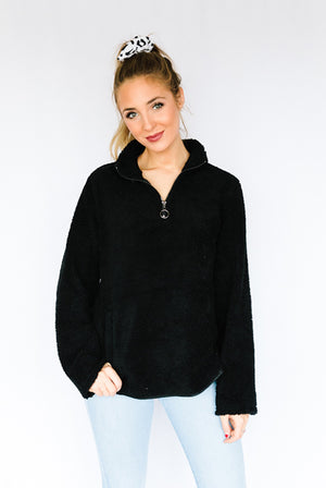 Teddy Quarter Zip- Black