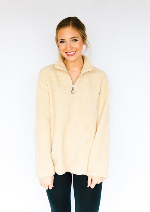 Teddy Quarter Zip- Beige