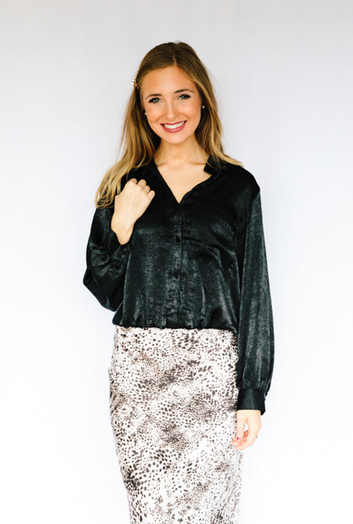 Working Girl Collared Blouse- Black