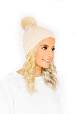 Cable Knit Beanie W/ Pom- Cream