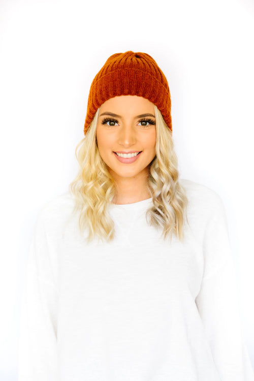 Ultra Soft Cuffed Beanie- Rust