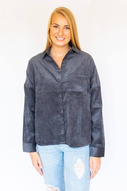 Corduroy Shirt W/ Pocket- Charcoal