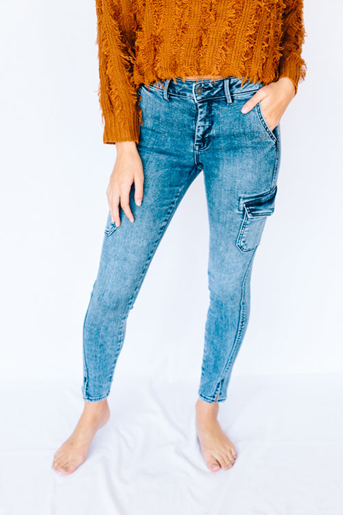 Mid Rise Cargo Jeans