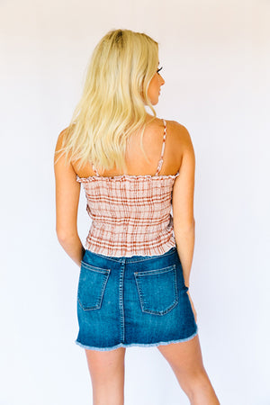 Valerie Smocked Tube Top- Rust