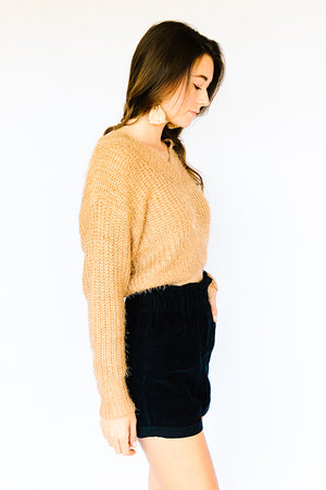 Cold Shoulder Vneck Sweater