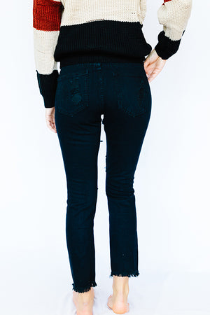 Distressed Black Denim Pant