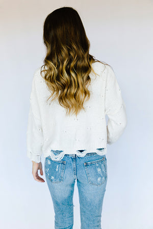 Soft Knit Distressed Sweater- Ivory