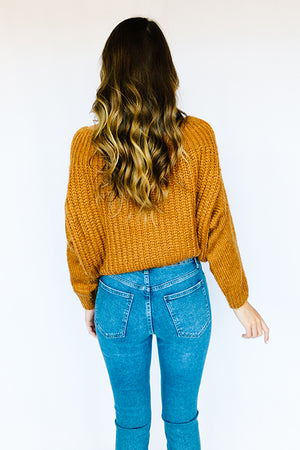 Olivia Wide Neck Cozy Sweater- Brown