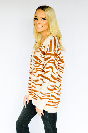 Tigers Eye Button Front Cardi