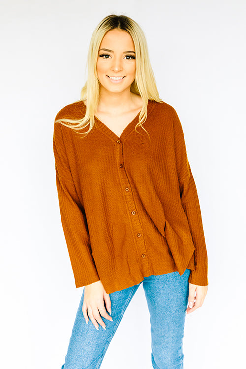 Lightweight Thermal Button Up- Brown