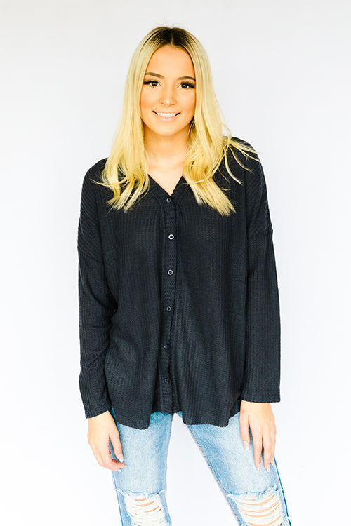 Lightweight Thermal Button Up- Charcoal