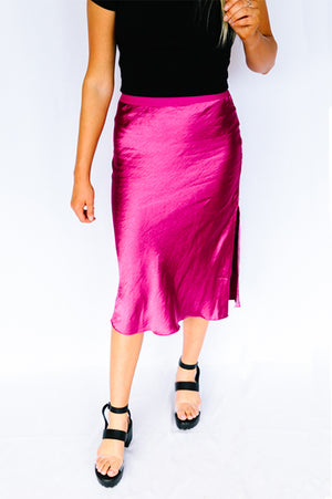 Fuchsia Punch Satin Midi Skirt