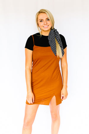 City Life Slip Dress- Rust