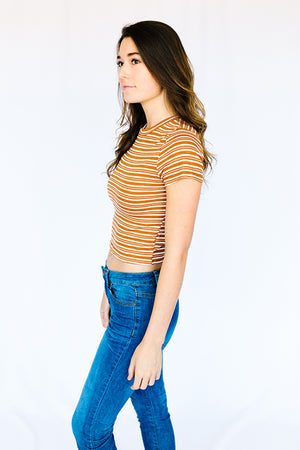 Vintage Stripe Ribbed Crop Top