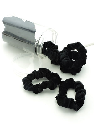 Mini Black Velvet Scrunchies