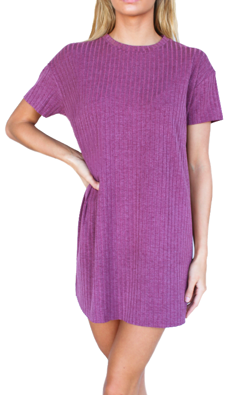 Short Sleeve Ribbed Knit Dress