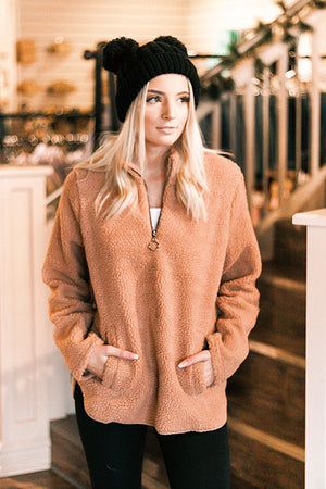 Teddy Quarter Zip- Hazel