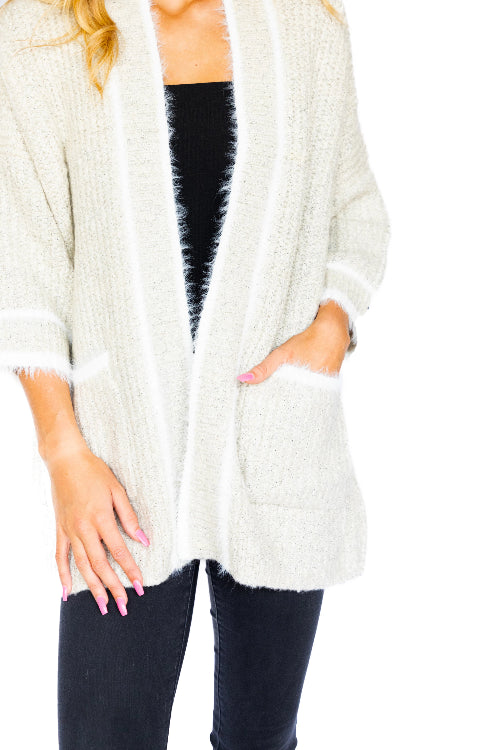 Striped Hem Pocket Mohair Cardi